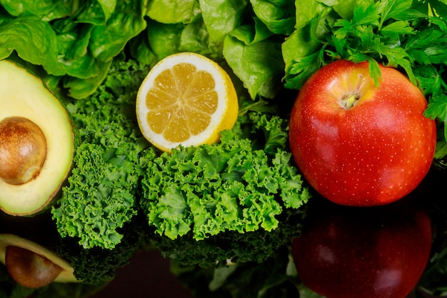 Ingredients for healthy smoothie or salad