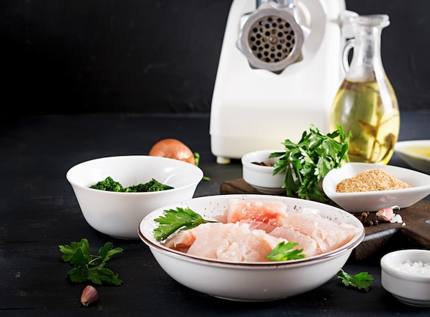 Ingredients for homemade fish cake cod