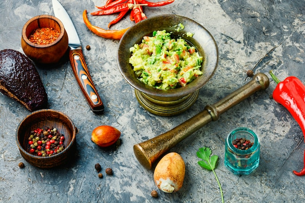 Ingredients for homemade guacamole.delicious food of traditional mexican guacamole