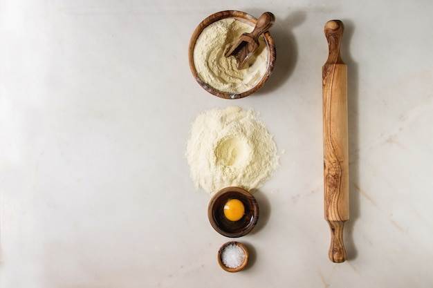 Ingredients for homemade pasta cooking