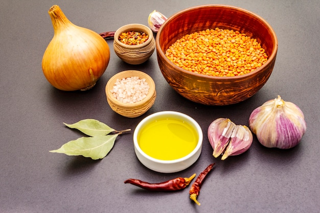 Ingredients for indian dhal spicy curry