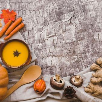 Ingredients lying near tasty soup