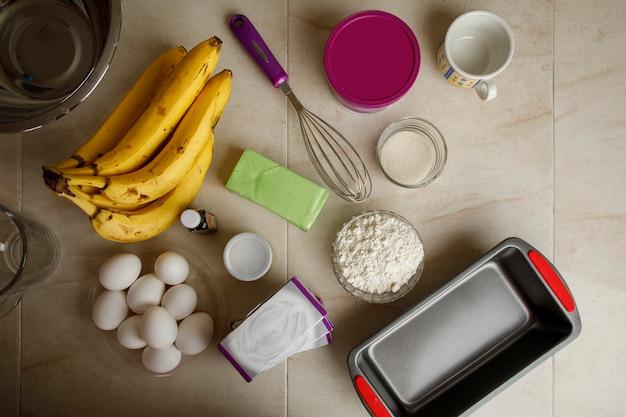 Ingredients to make a banana pancake mexican home baking concept