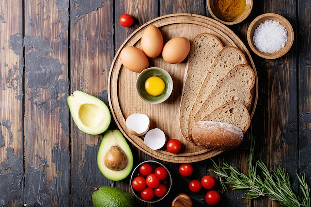 Ingredients for making avacado toast