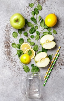 Ingredients for making green smoothies