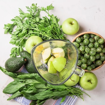 Ingredients for making healthy green smoothies