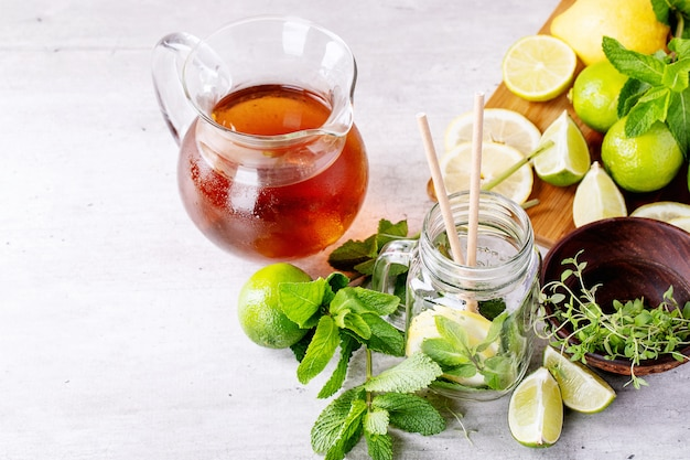 Ingredients for making ice tea