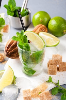 Ingredients for making mojitos.