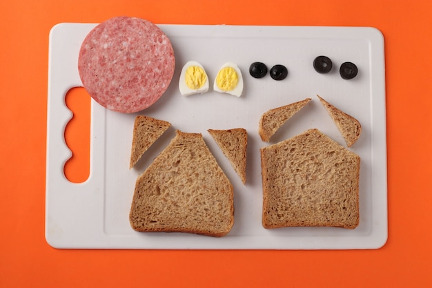 Ingredients for making a new year sandwich in the shape of bull
