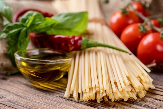 Ingredients for mediterranean diet. carbohydrates for an italian pasta