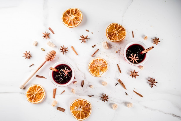 Ingredients for mulled wine cocktail with spices