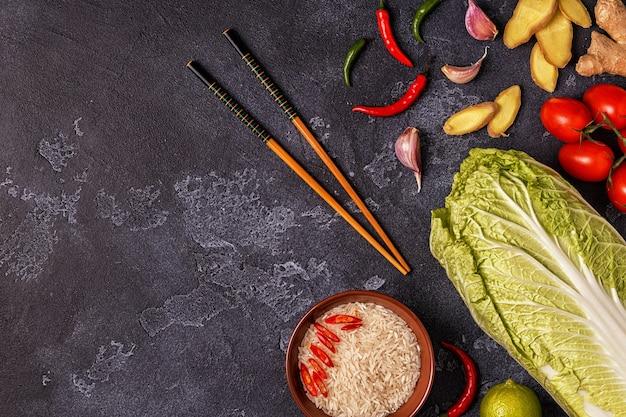 아시아 매운 음식의 재료