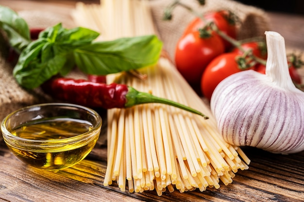 Ingredients for pasta with garlic. typical southern italian dish
