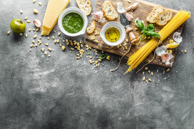 Ingredients for pesto and chiabatta bread