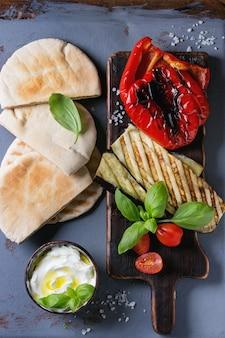 Ingredients for pita bread sandwich