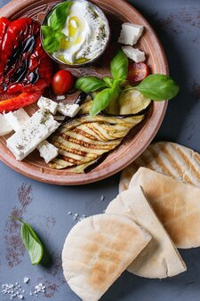 Ingredients for pita bread sandwich