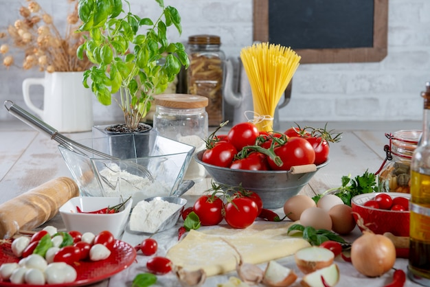 Ingredients for preparation of the delicious pizza