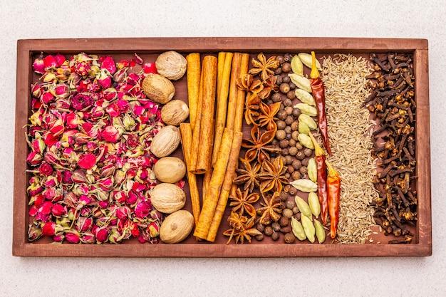 Ingredients for preparation oriental spice ras el hanout