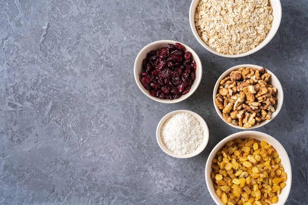 Ingredients for preparing healthy organic energy balls