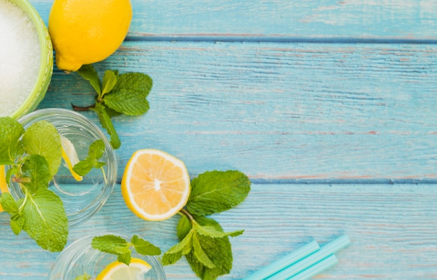 Ingredients for refreshing lemonade