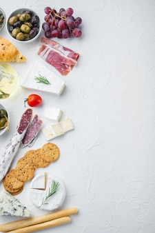 Ingredients for spanish food, meat cheede, herbs set, on white background, flat lay  with copy space for text