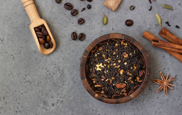 Ingredients for spicy indian masala chai