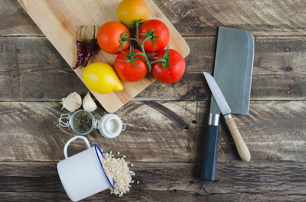 Ingredients and utensils for food preparation. top view.
