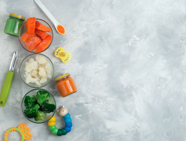 Ingredients for vegetable puree on gray background