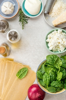 Ingredients for vegetarian spinach and ricotta lasagna