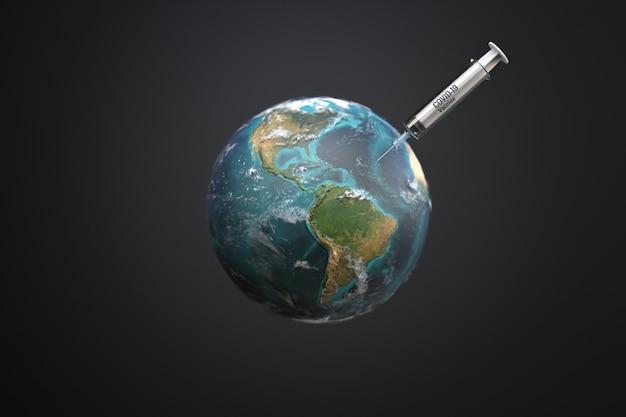 행성 지구, covid-19 백신 개념 주입 주사기. 3d 그림
