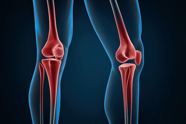 Травмированные колени крупным планом. 3d иллюстрации. содержит обтравочный контур