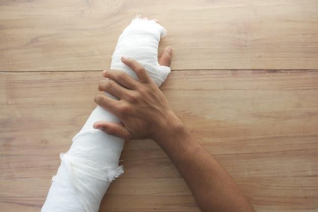 Injured painful hand with bandage