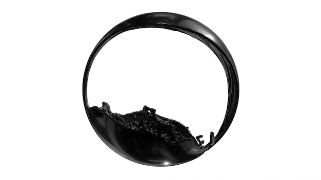 Ink oil splash circle round frame on withe space