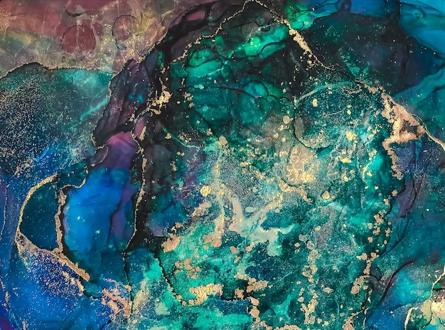 Чернила краска абстрактная многоцветная и золотая абстрактная живопись фон спиртовые чернила