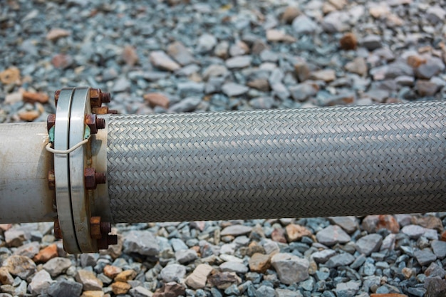 Inlet pipe hoses stainless steel for industrial chemicals use. flexible hose for flange plumbing systems flowing tank