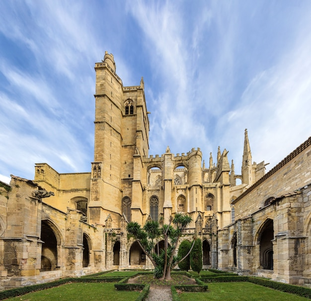 Inner court of narbonne cathedral - france