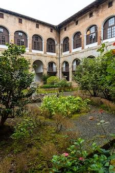 Inner courtyard of the old santa clara monastery in the town of azkoitia next to the urola river. founded by don pedro de zuazola, gipuzkoa. basque country