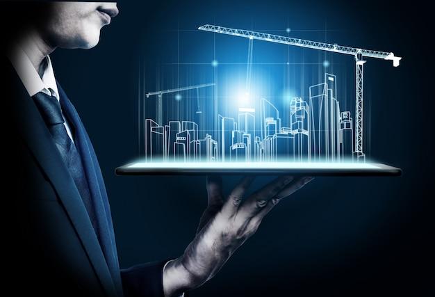 미래 건축 설계를 통해 혁신적인 건물 건축 및 엔지니어링을 보여줍니다. 현대 부동산 및 부동산 개발 개념.