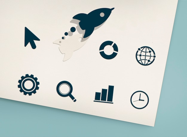 혁신 개발 로켓 그래픽 개념