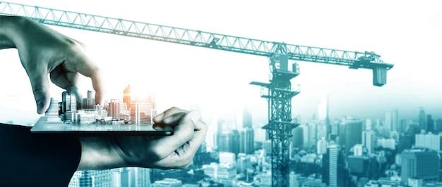 Проект строительства инновационного архитектурного и гражданского строительства. креативный графический дизайн, показывающий концепцию строительства инфраструктуры города профессиональным архитектором, рабочим и инженером.