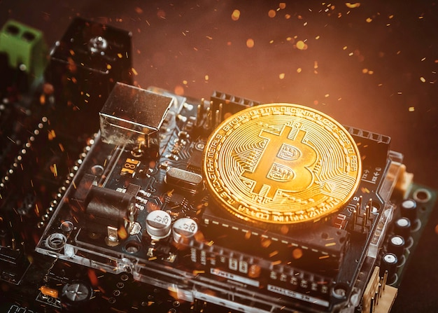 An innovative digital currency bitcoin with lighting effect
