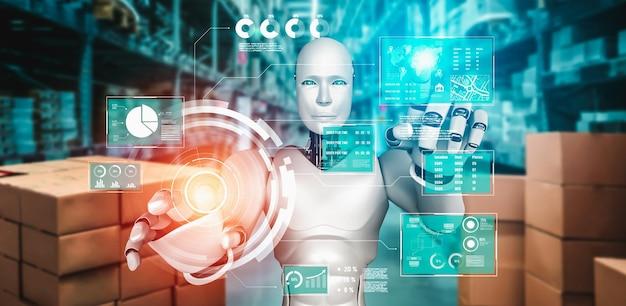 Инновационный промышленный робот, работающий на складе для замены человеческого труда