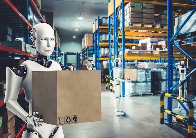 人的労働の交換のために倉庫で働く革新的な産業用ロボット