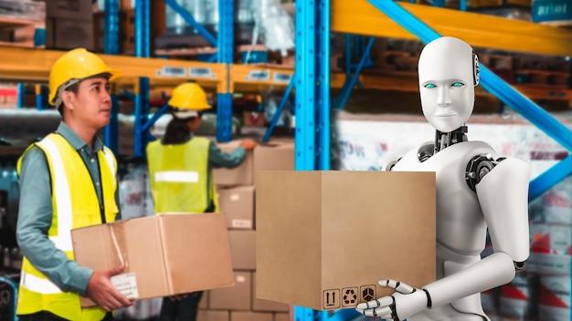 Инновационный промышленный робот, работающий на складе вместе с человеком-рабочим