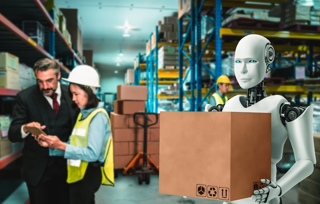 Innovative industry robot working in warehouse together with human worker