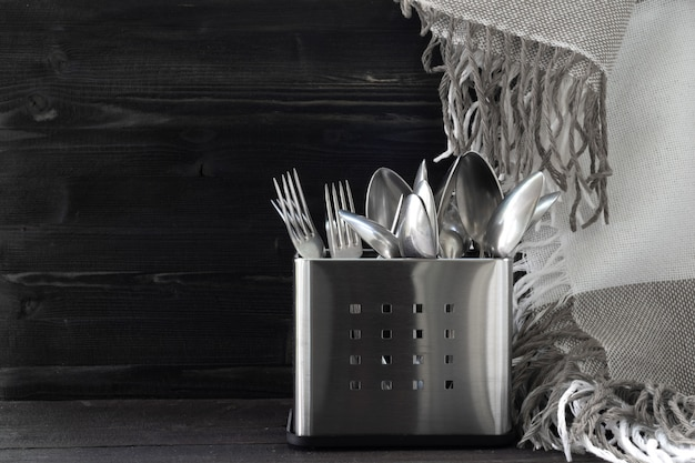 Inox cutlery. spoon and fork. stainless steel. monocrome style