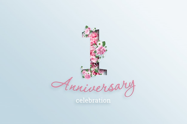 The inscription 10number and anniversary celebration textis flowers, on a light