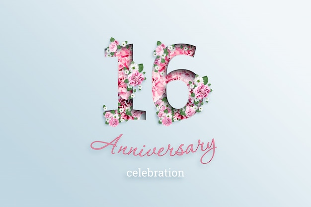 The inscription 16 number and anniversary celebration textis flowers, on a light