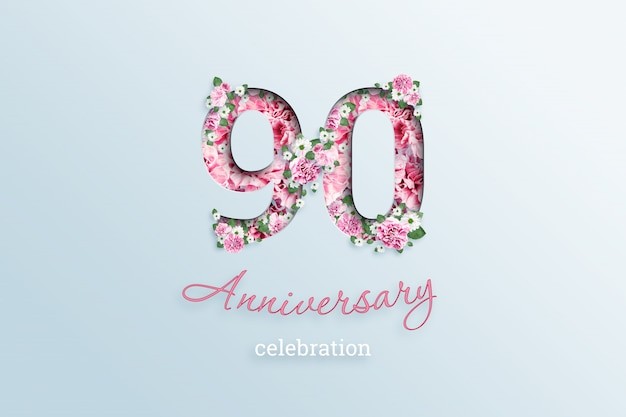 The inscription 90 number and anniversary celebration textis flowers, on a light