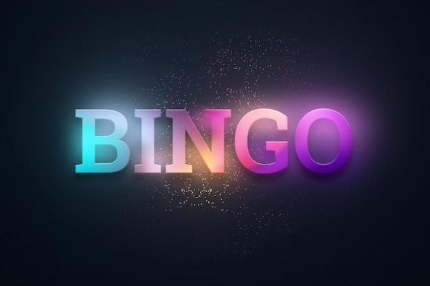Надпись бинго на светящейся темноте